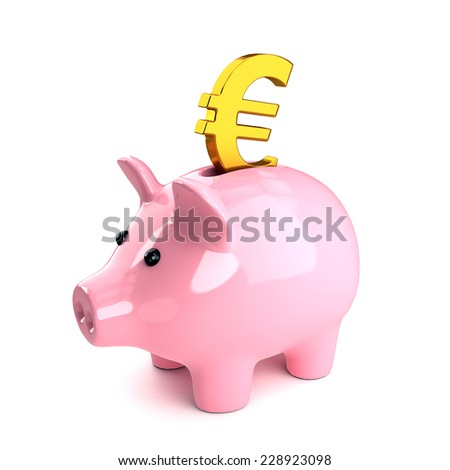 3d render of a piggy bank with gold Euro - stock photo