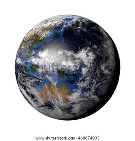 3d render of a Planet Earth model showing city lights at night and sun light at day. Earth globe isolated. Elements of this image furnished by NASA