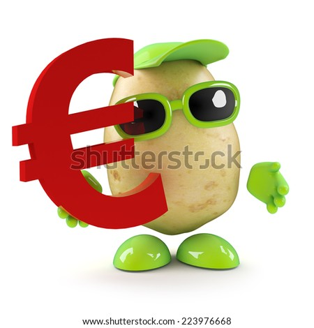 3d render of a potato character holding a Euro currency symbol