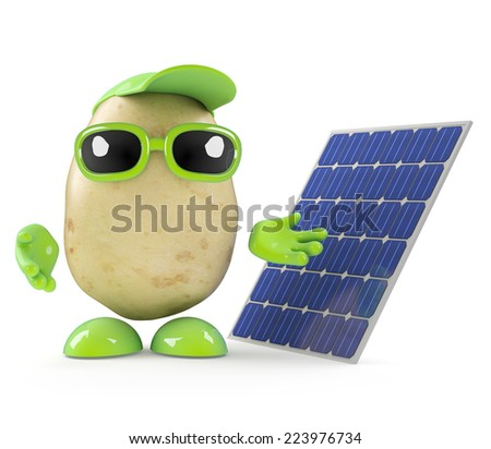 3d render of a potato man next to a solar panel - stock photo