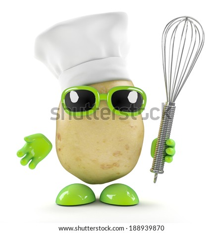 3d render of a potato wearing a chefs hat and holding a whisk - stock photo