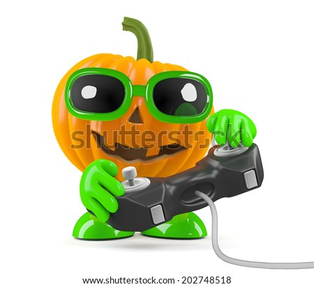 3d render of a pumpkin character playing a video game