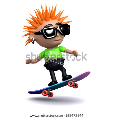 3d render of a punk on a skateboard - stock photo
