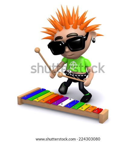 3d render of a punk playing a xylophone - stock photo