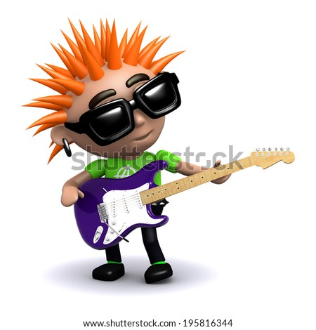 3d render of a punk playing electric guitar - stock photo