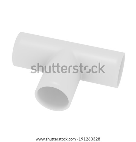 3d Render of a PVC T Joint Pipe - stock photo