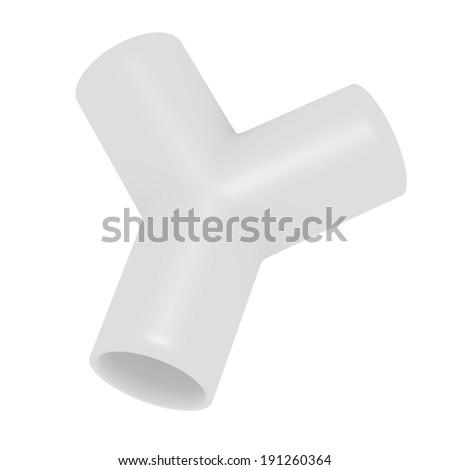 3d Render of a PVC Y Joint Pipe