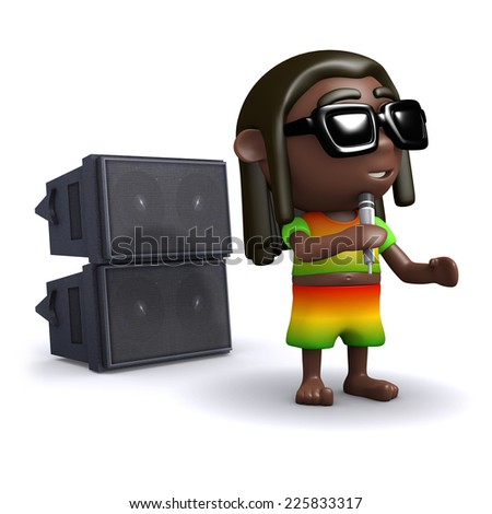 3d render of a rastafarian singing into a microphone