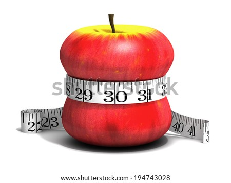 3d render of a red apple qith a tape measure wrapped round it - stock photo