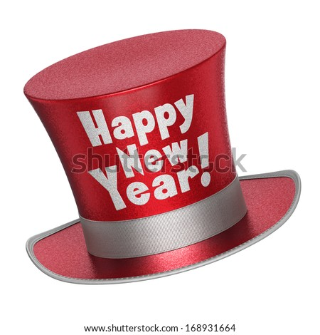3D render of a red Happy New Year top hat with shiny metallic flakes style surface - isolated on white background - stock photo