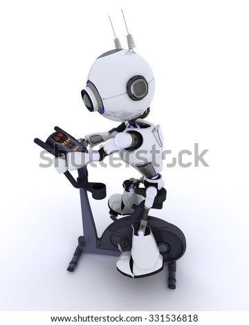 3D render of a robot at the gym on an exercise bike