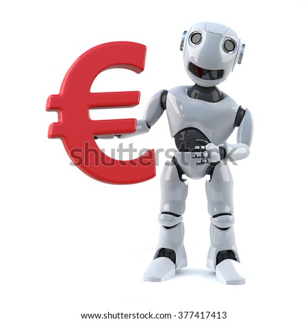 3d render of a robot holding a Euro currency symbol