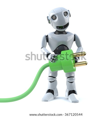 3d render of a robot holding a green energy lead and plug.