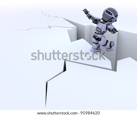 3D render of a robot on a cliff edge - stock photo