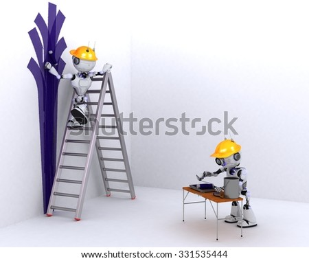 Robot Painter Stock Images Royalty Free Images Vectors