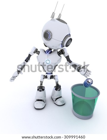 3D Render of a Robot recycling waste
