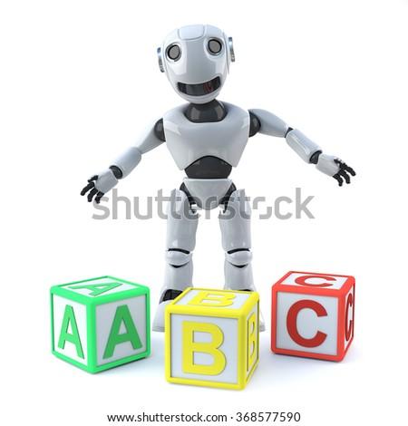 3d render of a robot stood behind some wooden alphabet blocks. - stock photo