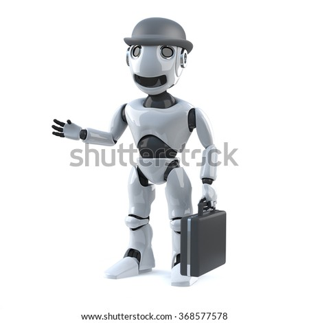 3d render of a robot with a bowler hat and briefcase.