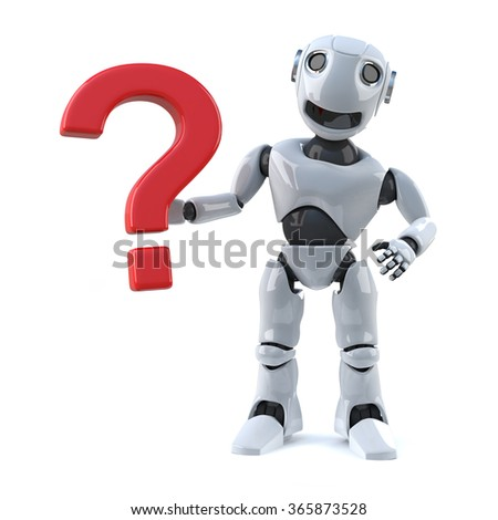 3d render of a robot with a question mark symbol.
