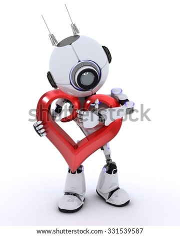 3D Render of a Robot with Heart