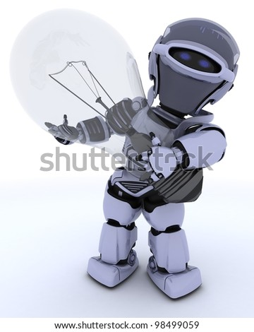 3D Render of a Robot with light bulb
