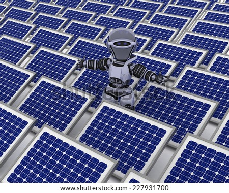 3D Render of a Robot with solar panel - stock photo