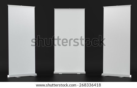 3d render of a rollup mockups on dark fabric background