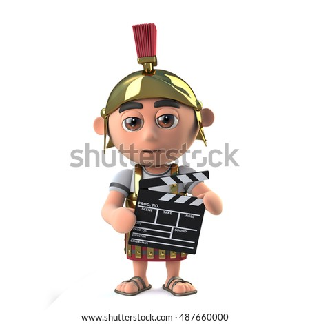 3d render of a Roman soldier holding a film making clapperboard