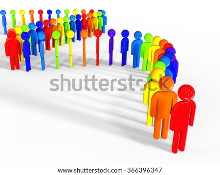 3D render of a row of different color figurine / Different people