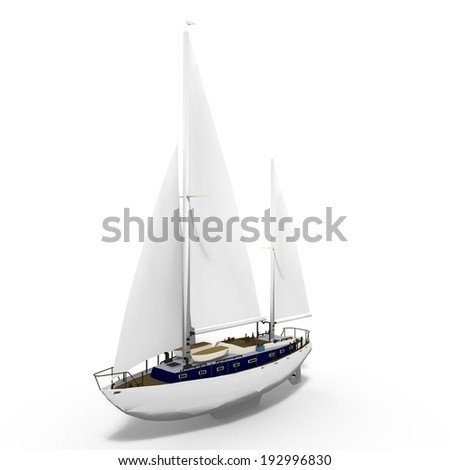 3d render of a sailing ship - stock photo