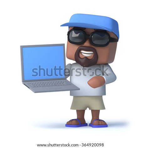 3d render of a sailor holding a laptop pc