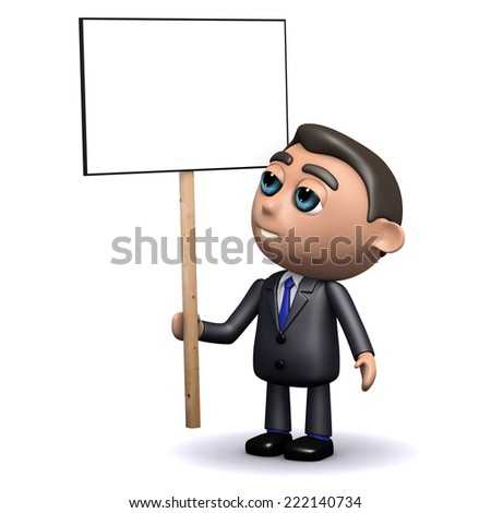 3d render of a salesman holding a blank placard - stock photo
