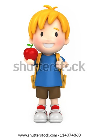 3d render of a school boy holding an apple - stock photo