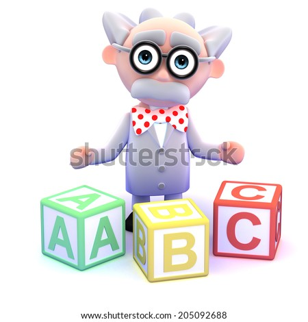 3d render of a scientist with alphabet blocks - stock photo