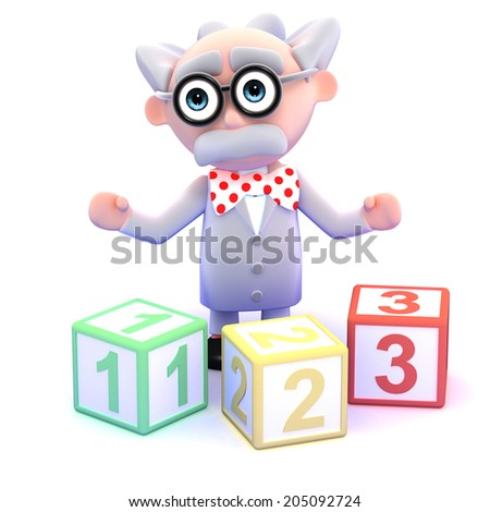 3d render of a scientist with counting blocks - stock photo