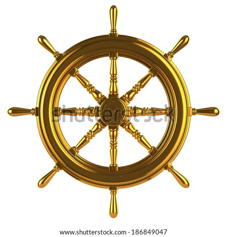 3d render of a ships wheel made of gold