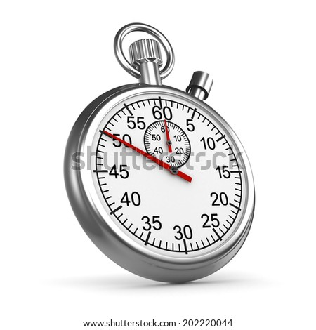 3d render of a silver stop watch timer