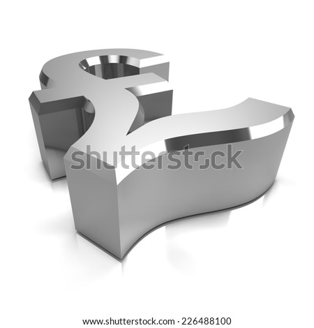 3d render of a silver UK Pounds Sterling symbol