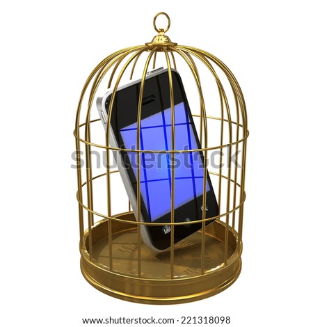 3d render of a smartphone in a birdcage - stock photo
