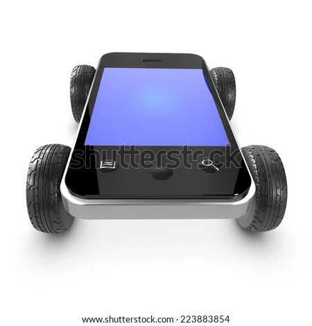 3d render of a smartphone with car wheels - stock photo