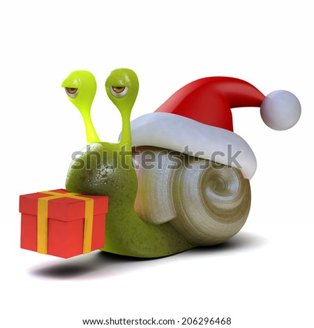 3d render of a snail wearing a Santa hat and carrying a Christmas gift