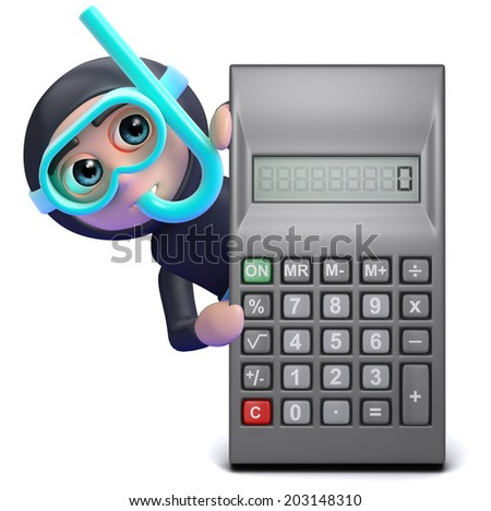 3d render of a snorkel diver behind a calculator - stock photo