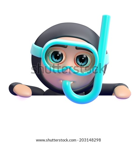 3d render of a snorkel diver looking over a blank space - stock photo