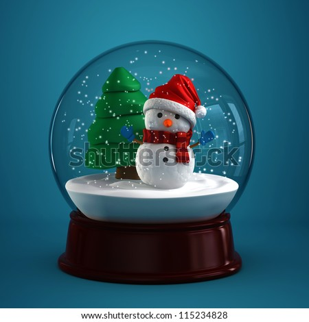 3d render of a snow globe with snowman in blue background - stock photo
