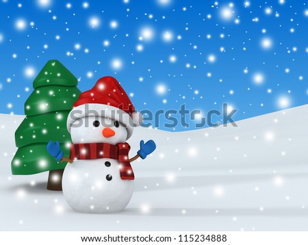 3d render of a snowman - stock photo