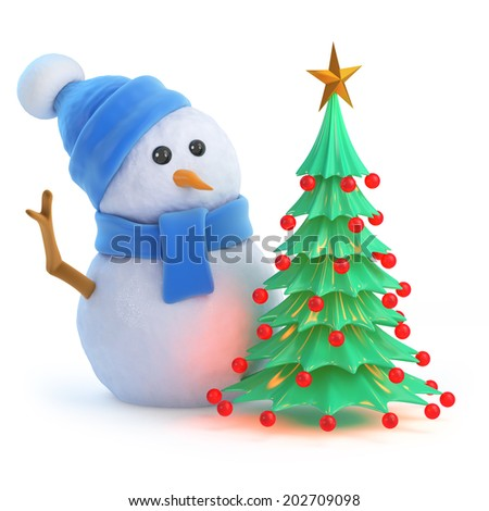 3d render of a snowman in a blue scarf and hat with a Christmas tree