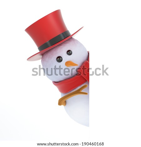 3d render of a snowman in a top hat peeping round the corner - stock photo