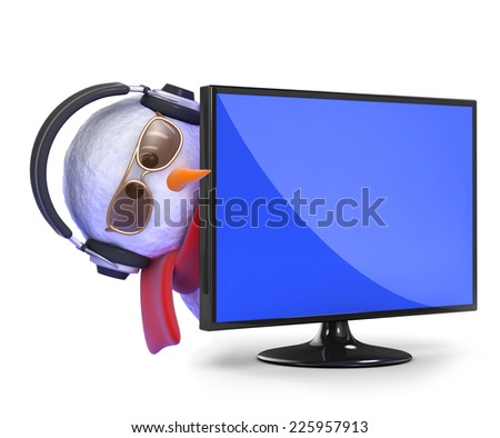3d render of a snowman in headphones peeping round the side of a flatscreen television monitor