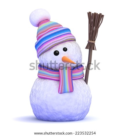 3d render of a snowman in wool scarf and hat holding a broom - stock photo