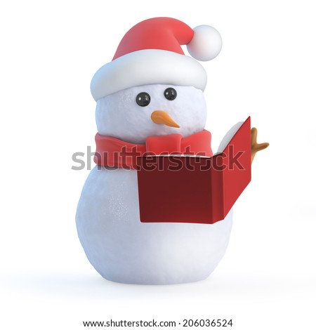 3d render of a snowman reading a book - stock photo